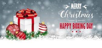 San Esteban del jefe del regalo de Gray Christmas Snow Baubles Twigs stock de ilustración