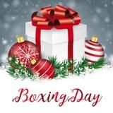 San Esteban del regalo de Gray Christmas Snowflakes Red Baubles ilustración del vector