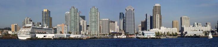 san för diego hamnpanorama horisont Fotografering för Bildbyråer