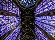 San famoso interno Chapelle, dettagli di bello mosaico di vetro Windows fotografia stock libera da diritti