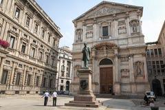 San Fedele Square in Milaan Stock Afbeelding