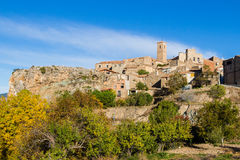 San Felices village in Soria, Spain. Panoramic view of the old village of San Felices in Soria, Castile, Spain. The stone houses of the picturesque and touristic Stock Photo