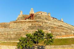 San Felipe de Barajas fortress. Castle is on a hill overlooking the Cartagena de Indias city in Colombia Royalty Free Stock Image