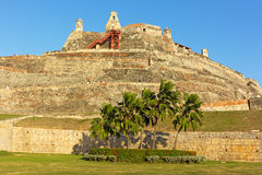 San Felipe de Barajas fortress on the Hill of San Lazaro at sunset in Cartagena, Colombia. Stock Images