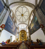 San Felipe de Jesus Satelite. Mexico City, FEB 19: The inner view of the historical and beautiful San Felipe de Jesus Satelite on FEB 19, 2017 at Mexico City Stock Photography