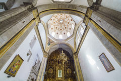 San Felipe de Jesus Satelite. Mexico City, FEB 19: The inner view of the historical and beautiful San Felipe de Jesus Satelite on FEB 19, 2017 at Mexico City Royalty Free Stock Photos