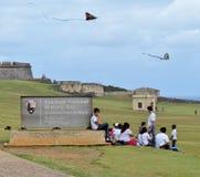 San Felipe Del Morro fort w San Juan, Puerto Rico- Marzec 9, 2017-School dzieci odwiedza historycznego San Felipe Del Morro fort Fotografia Royalty Free