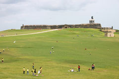 San Felipe del Morro Fortress. View from the outside grounds of El Morro.  People Flying Kites Stock Photos