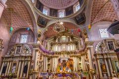 San Felipe Neri Church Facade San Miguel de Allende, Mexico. Basilica Altar Christmas Decorations Templo Del Oratorio De San Felipe Neri Church Facade San Miguel stock images