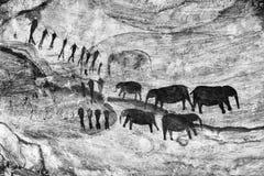 San-Felsenkunst an Stadsaal-Höhlen in Cederberg-Bergen einfarbig lizenzfreie stockfotos