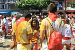 San Fermin, the youth in the Castle Square. First day of San Fermin holiday in Pamplona, the youth in the Castle Square after loud bang, editorial use Royalty Free Stock Photo