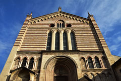 San Fermo Church gothic facade. In the city of Verona, Italy Royalty Free Stock Images