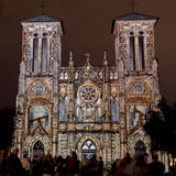 San Fernando Cathedral with Ornate Light Show. January 21, 2017: San Antonio, Texas: San Fernando Cathedral Lights up with an Ornate public art light show with stock photo