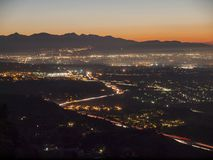 San Fernando Valley Day Break. Early morning view of the San Fernando Valley in the City of Los Angeles Stock Photos