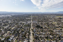 San Fernando Valley Los Angeles Sprawl Aerial. Aerial view of suburban sprawl in the San Fernando Valley portion of Los Angeles, California Royalty Free Stock Image