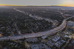 San Fernando Valley Night Aerial Arkivbilder