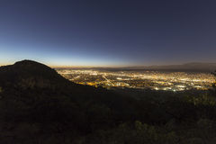 San Fernando Valley. Night view of the San Fernando Valley in the City of Los Angeles Stock Photos