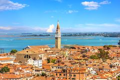 The San Francesco della Vigna bell tower of Venice, view from Pi. Azza San Marco royalty free stock photography