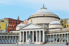 San Francesco di Paola. Beautiful Catholic church in Naples, Italy Royalty Free Stock Images