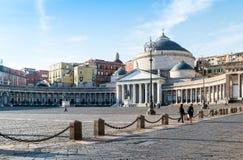 San Francesco di Paola, Plebiscito Square in Naples Stock Images
