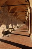 Covered walk-way San Francesco square at Assisi Stock Image