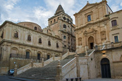 San Francesco and SS. Salvatore tower in Noto royalty free stock photos
