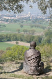 San Francis' statue and landscape Stock Photography