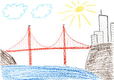 San Francisco. Child drawing of Golden Gate bridge and San Francisco made with wax crayons Royalty Free Stock Photos