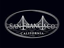 San Francisco logo design. Golden Gate bridge. Vector and illustration. royalty free illustration