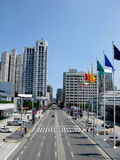 San francisco. Street view with flags Stock Photo