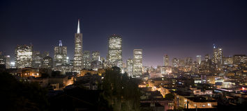 San Francisco City Skyline Panoramic Night Photo Royalty Free Stock Photo
