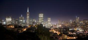 San Francisco City Skyline Panoramic Night Photo Royalty Free Stock Photo