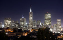 Buildings San Francisco Skyline Illuminated Night Stock Photo