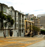San Francisco. Scenic view of historic houses on sloping street, San Francisco, California, U.S.A Stock Image