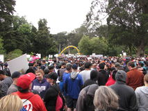 San Francisco AIDS Walk 2013. Massive crowd gathered for start of AIDS 10K Walk (Aug. 21, 2013) in Golden Gate Park Stock Photos