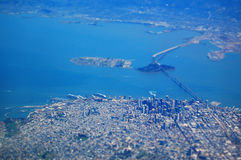 San Francisco From The Air. Photograph from an aeroplane above the San Francisco Bay, with a Tilt-Shift effect applied to it to make the city look model like Stock Image