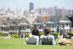 San Francisco - Alamo Square people stock photography