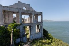 Alcatraz abandoned buildings royalty free stock image
