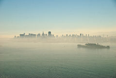 San Francisco and Alcatraz in fog Stock Photos