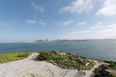 San Francisco Alcatraz panoramautsikt royaltyfri foto