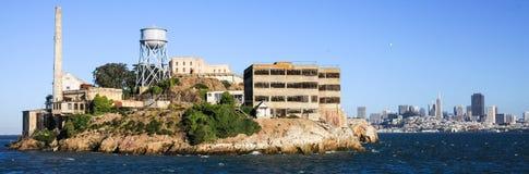 San Francisco Alcatraz und Skyline Stockfoto