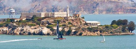 San Francisco America's Cup Team Sailing By Alcatraz Royalty Free Stock Images