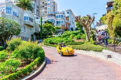 Tourists Explore San Francisco Lombard Street on GoCar Stock Image