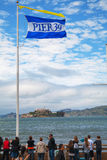 Famous pier 39 with view to Alcatraz island Stock Photo