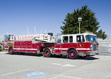 SAN FRANCISCO, 15 APRIL, 2017 - Fire truck of San Francisco Department, California, 2017. SAN FRANCISCO, 15 APRIL, 2017 - Fire truck of San Francisco Department royalty free stock images