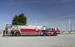 SAN FRANCISCO, 15 APRIL, 2017 - Fire truck of San Francisco Department, California, 2017. SAN FRANCISCO, 15 APRIL, 2017 - Fire truck of San Francisco Department stock photography
