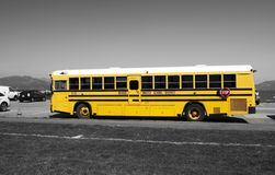 SAN FRANCISCO - 15 APRIL, 2017: Yellow school bus of Novato Unified School District, California, 2017. Royalty Free Stock Photos