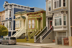 San Francisco architecture, California, USA. Typical San Francisco houses. Wood architecture stock photography