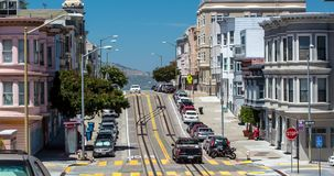 San Francisco Architecture and City Street in North Beach. stock video footage