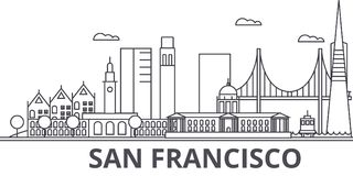San Francisco architecture line skyline illustration. Linear vector cityscape with famous landmarks, city sights, design vector illustration